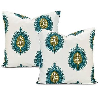 Pillows - Mayan Teal Cotton Pillow Cover (Set of 2) | Overstock.com - teal medallion pillow, teal and chartreuse pillow, teal and green pillow,