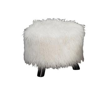 Seating - White Faux Flokati Foot Stool | Overstock.com - flokati style stool, faux flokati stool, faux flokati foot stool,
