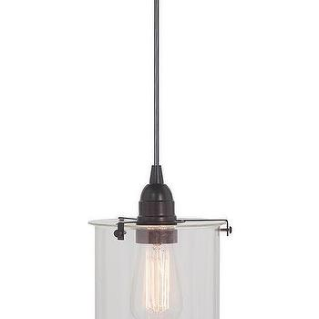 Lighting - Lane Pendant | HomeDecorators.com - glass cylinder pendant, glass and brushed bronze pendant, glass pendant light,