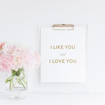 Art/Wall Decor - I Like You & I Love You Gold Foil Print by BisforBonnie I Etsy - like and love you art, live and love you art print, love art print, gold love wall decor,