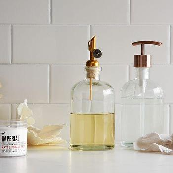 Bath - Copper Top Pump + Pour Soap Dispensers | West Elm - copper soap dispenser, recycled glass soap dispenser, copper topped soap dispenser,