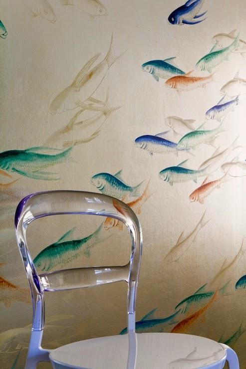 Metallic Fish Wallpaper - Transitional - living room