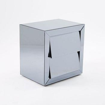 Storage Furniture - Modern Mirrored Nightstand | West Elm - modern mirrored nightstand, mirrored nightstand, mirrored bedside table, art deco mirrored nightstand,