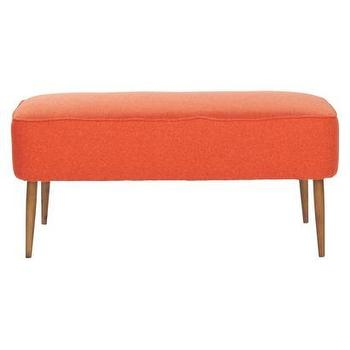 Seating - Safavieh Sullivan Bench I Target - orange bench, orange upholstered bench, orange mid century bench,