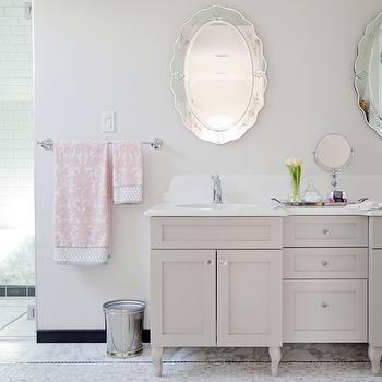 HGTV - bathrooms - Behr - Silver Drop - elegant bathrooms, sophisticated bathrooms, oval mirrors, vanity mirror, oval vanity mirror, double sink vanity, double washstand, gray double vanity, gray double sink vanity, gray double washstand, white quartz counters, white quartz countertops, organic white quartz, organic white quartz countertops, caesarstone organic white, caesarstone organic white counters, caesarstone organic white countertops, mosaic marble floor, pink damask towels, damask towels, etched mirrors, etched vanity mirrors, etched oval mirrors, oval mirrors, oval vanity mirrors,