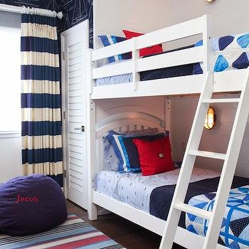 Brittney Nielsen Interior Design - boy's rooms - boys bunk beds, boys bunk bed ideas, louvered closet door, white louvered closet door, navy and white striped drapes, navy and white striped curtains, blue and white striped drapes, blue and white striped curtains, navy blue beanbag, boys bedroom ideas, nautical boys room, red white and blue boys room, red white and blue striped rug, striped area rug, bunk beds, white bunk bed, red pillow, blue and white bedding, blue boys bedding, nautical wall sconce, bunk bed lighting, ship wallpaper, yacht wallpaper, ship blueprint wallpaper, yacht blue print wallpaper, wallpapered accent wall, wallpapered focal wall, maritime wallpaper, maritime blueprint wallpaper, rugby stripe curtains, rugby stripe drapes, rugby striped curtains, navy rugby stripe curtains, striped curtains, striped drapery, navy stripe curtains, navy striped drapes,