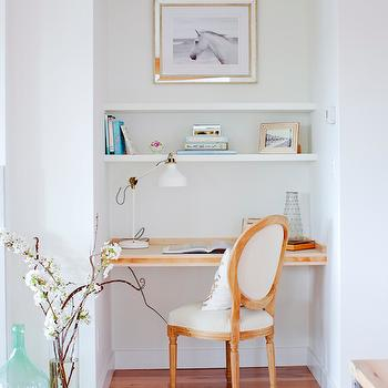 HGTV - living rooms - living room desk, built in desk, floating desk, desk nook, desk chair, desk shelves, mirrored frame, wood floating desk, floating wood desk, desk niche, desk alcove,