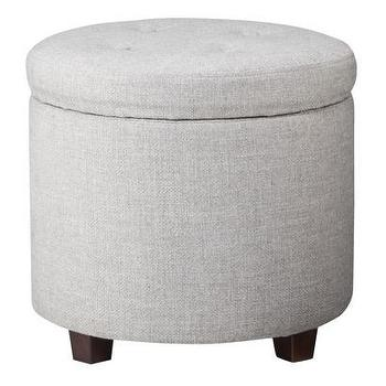 Storage Furniture - Threshold Round Tufted Storage Ottoman - Gray I Target - round gray ottoman, round gray storage ottoman, round gray tufted ottoman,