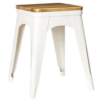 Seating - Threshold Nautical Metal Accent Stool - White I Target - white metal stool, white metal accent stool, white stool with wooden seat,