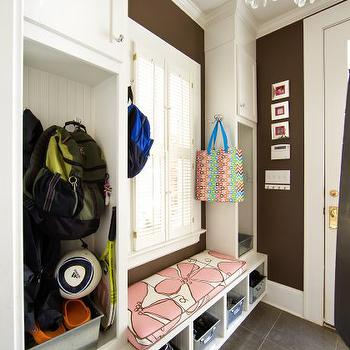 Holly Hollingsworth Phillips - laundry/mud rooms - mudroom, mudroom ideas, mud room, mud room ideas, white and brown mudroom, mudroom cabinets, beadboard backsplash, mudroom bench, mudroom window seat, mudroom cubbies, kids mudroom, shoe cubbies, mudroom shoe cubbies, individual mudroom cubbies, mudroom chandelier,