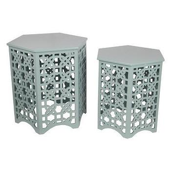 Tables - Lattice Hex Accent Tables Set of 2 I Target - gray lattice side table, gray geometric side table, gray geometric accent table, modern gray accent table,