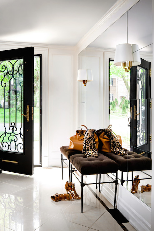 Floor To Ceiling Foyer Mirror Transitional Entrance