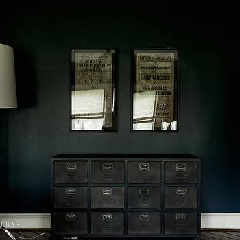 Paloma Contreras - boy's rooms - Sherwin Williams - Dark Knight - navy walls, navy kids walls, vintage art, locker dresser, vintage locker dresser, tripod floor lamp, kids floor lamps, kids lighting, kids dressers, navy blue walls, navy paint colors,
