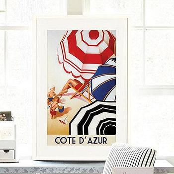 Art/Wall Decor - Cote D Azur Art | Ballard Designs - 30s travel poster, french travel poster, cote d azur travel poster,