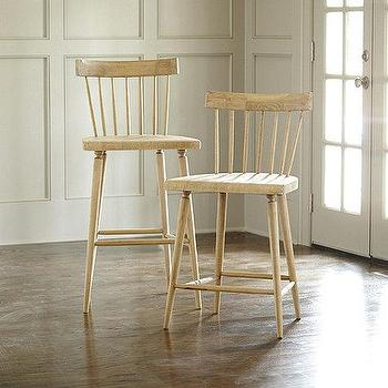 Seating - Lydia Barstool | Ballard Designs - weathered oak barstool, oak barstool with spindle back, spindle back barstool,