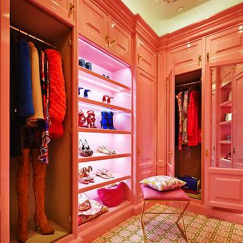 Peacock Cabinetry - closets - dressing rooms, pink dressing rooms, vanity stool, pink vanity stool, hot pink vanity stool, x base vanity stool, x vanity stool, brass vanity stools, brass x stool, brass x based stool, x based stool, pink and green carpet, chain link carpet, pink cabinets, closet cabinets, pink closet cabinets, pink dressing room cabinets, pink closets, pink lacquer cabinets, pink lacquered cabinets, pink closet cabinets, 24k pulls, 24 k hardware, 24k cabinet pulls, 24k cabinet hardware, pink shoe shelves, pink shelves for shoes, slanted shoe shelves, slanted shelves for shoes, shoe shelf lighting, david hicks carpet, david hicks carpeting, mirrored doors, mirrored closet doors, mirrored wardrobe cabinets, track lighting, closet track lighting, track lighting closet, closet lighting,