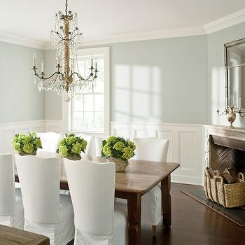 Corner Fireplace, Cottage, dining room, Benjamin Moore Wickham Gray, Benjamin Moore