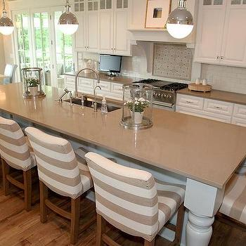 Fabulous kitchen design with turned leg island painted Benjamin Moore Beach Glass ...