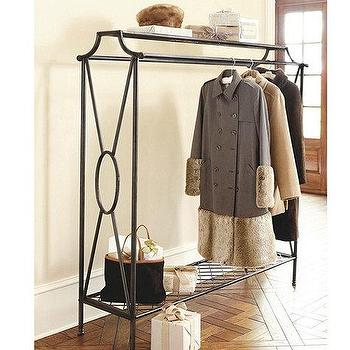 Storage Furniture - Niles Double Coat Rack | Ballard Designs - black coat rack, black coat rack with shelves, metal coat rack, vintage style coat rack,