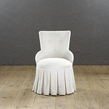 Seating - Francie Swivel Chair | Ballard Designs - pleated skirt vanity chair, swivel vanity chair, tufted vanity chair, pleated swivel chair,