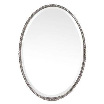 Mirrors - Alexis Mirror | Mirrors | Z Gallerie - oval beaded mirror, nickel beaded mirror, oval nickel beaded mirror,
