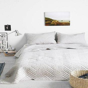 Bedding - 4040 Locust Chevron Quilt I Urban Outfitters - gray chevron quilt, gray chevron coverlet, gray chevron bedding,