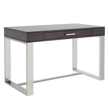 Tables - Gunnar Desk | Z Gallerie - steel based desk, contemporary desk with steel base, dark gray desk with steel base,