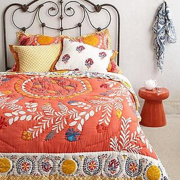 Bedding - Zocalo Embroidered Quilt I anthropologie.com - orange and yellow quilt, coral pink embroidered quilt, coral pink and yellow embroidered quilt,