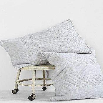 Bedding - 4040 Locust Quilted Chevron Sham - Set Of 2 I Urban Outfitters - gray chevron pillow sham, gray chevron pillowcase, quilted gray chevron sham,