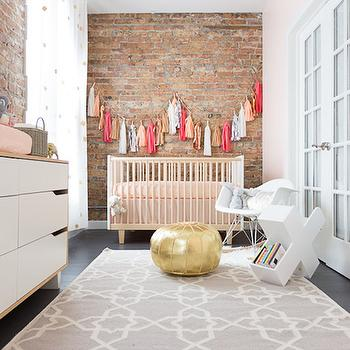 Grey Likes Baby - nurseries - long nursery, girl nursery, girl nursery ideas, pink nurseries, pink and gray nursery, exposed brick walls, nursery brick walls, nursery exposed brick walls, exposed brick walls nursery, nursery brick walls, nursery curtains, confetti curtains, gold confetti curtains, kids curtains, kids rugs, changing table, 6 drawer changing table, 6 drawer dresser, ikea dresser, ikea 6 drawer dresser, gold pouf, gold moroccan pouf, nursery bookcase, pink crib, pink nursery crib, tassel garland, nursery window treatments, nursery curtains, nursery drapes, curtains for nursery, drapes for nursery, long nursery ideas,
