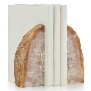 Decor/Accessories - Agate Bookends I Z Gallerie - agate bookends, gilt agate bookends, pink agate bookends,