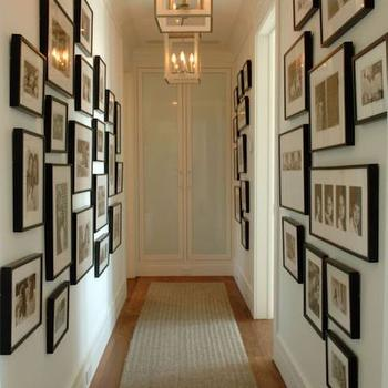 Herlong & Associates - entrances/foyers - hallway art, hallway gallery wall, hall gallery wall, photo gallery wall, black and white photography, black and white photo gallery wall, neutral rug runner, hallway rug runner, hallway lantern pendant, rectangular lantern pendant, brass lantern pendant, frosted glass closet doors, frosted closet doors, hallway photo gallery,