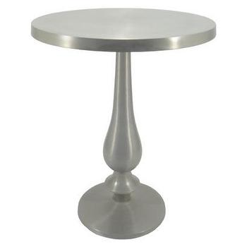 Tables - Threshold Pedestal Table - Pewter I Target - pewter pedestal table, aluminum pedestal table, pewter side table,