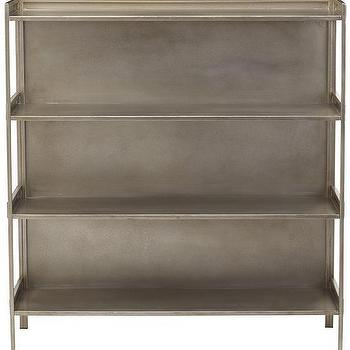 Storage Furniture - Cole Wide Metal Bookshelf | HomeDecorators.com - iron bookshelf, iron bookshelves, antiqued silver bookshelf, industrial bookshelf,