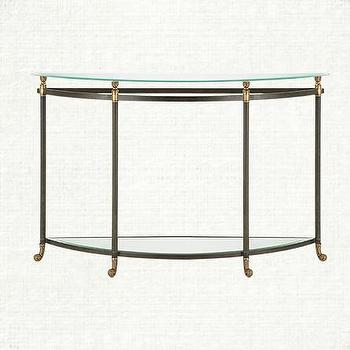 Tables - Charlotte Demilune Console Table | Arhaus Furniture - iron and brass console table, iron and brass demilune console, glass topped demilune console table,