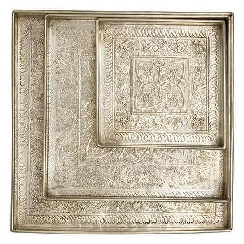 Decor/Accessories - Kashmiri Square Trays | Jayson Home - hammered indian tray, hammered silver tray, hammered indian silver tray, square hammered silver tray,
