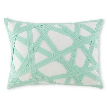 Pillows - Happy Chic by Jonathan Adler Nina Twill Oblong Pillow I JCPenney - aqua blue pillow, modern aqua pillow, aqua blue grosgrain pillow,