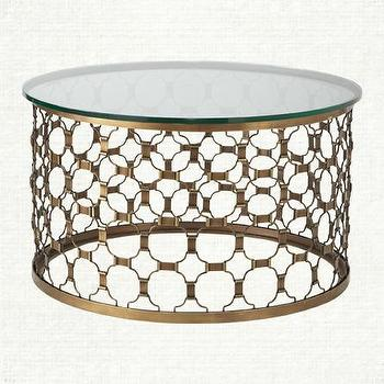 Tables - Contemporary Coffee Table | Arhaus Furniture - geometric brass coffee table, round brass coffee table, brass fretwork style coffee table, glass topped brass coffee table,