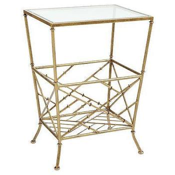 Decor/Accessories - Zhu Magazine Table I Pier 1 - gold magazine table, gold faux bamboo side table, gold mirror topped side table,