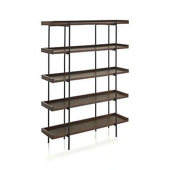 Storage Furniture - Beckett 5-High Shelf in New Furniture | Crate and Barrel - wood and iron shelves, contemporary iron and wood bookcase, iron and wood bookcase,