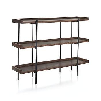 Storage Furniture - Beckett 3-High Shelf | Crate and Barrel - low iron bookcase, iron and wood book shelf, iron and wood floor shelf,