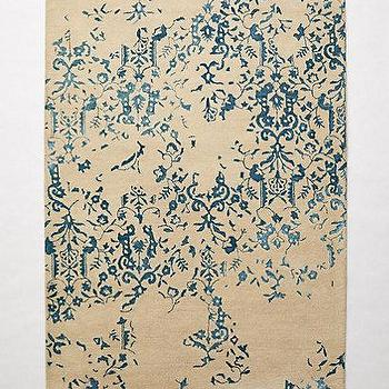 Rugs - Julieta Damask Rug I anthropologie.com - blue and beige damask rug, faded damask rug, faded blue damask rug,