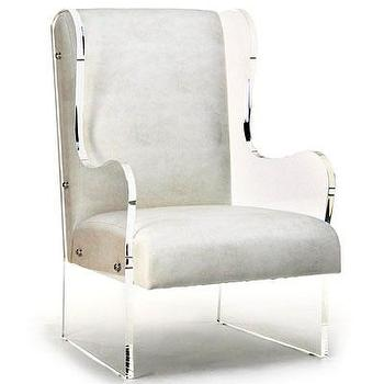 Seating - Acrylic Wingback Chair I Bliss Home and Design - acrylic sided wing chair, acrylic wing chair, acrylic wingback chair, modern wingback chair,