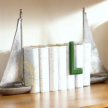 Decor/Accessories - Sailboat Bookends | Pottery Barn - boat bookends, sailboat bookends, silver boat bookends, nautical bookends,