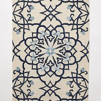 Rugs - Tufted Menorca Rug I anthropologie.com - blue tile pattern rug, blue mediterranean tile rug, blue and ivory geometric large, large scale blue geometric rug,