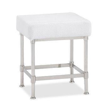 Bath - Metal Bath Stool | Pottery Barn - polished nickel bath stool, nickel vanity stool, nickel dressing table stool,