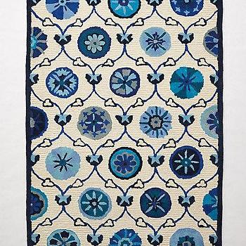 Rugs - Hand-Tufted Avebury Rug I anthropologie.com - blue suzani rug, blue and white suzani rug, blue suzani patterned rug,