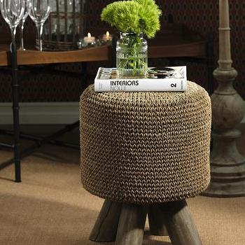 Seating - Equestrian Woven Foot Stool I Bliss Home and Design - woven foot stool, chunky woven foot stool, woven stool with wooden legs,