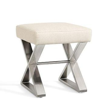 Seating - Ava X-Stool | Pottery Barn - x sided stool, x based stool, polished nickel x stool, x based vanity stool,
