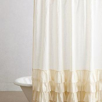 Bath - Aberdeen Shower Curtain I anthropologie.com - ruffled cream shower curtain, shabby chic shower curtain, cream shower curtain with ruffled trim,